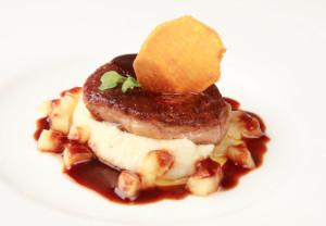 Pan Seared Duck Foie Gras on Celeriac Mousseline with Calvados Sauce