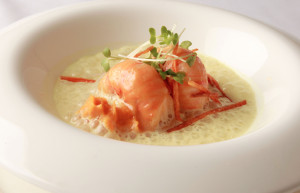 Butter Poached Lobster Tail with Carrot, Curry and Ginger sauce