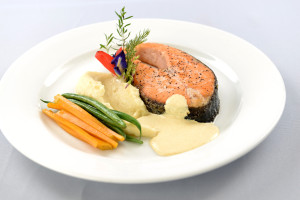Pan-Roasted Salmon, Jasmine-scented Orange and   Rosemary Beurre Blanc, Sautéed Haricot Vert and Squash, and Truffled   Potato