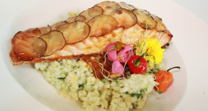 Lucia - Potato Crusted Baked Salmon with roasted bell     pepper coulis and spinach Risotto