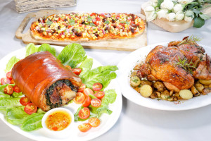 Laing Stuffed Lechon Roll, Pugon Rosemary    Chicken and Longganisa Pizza Canape