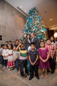 Ms. Lily Pedrosa,, President of Frontier  Ortigas Hotel and Resort Corporation,  Frank Reichenbach, General Manager of Marco Polo Ortigas Hotel and the kids from Riverspring School