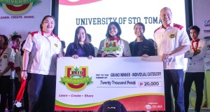 JU4 grand champion is Bernice Tenorio from UST (center). L-R AVP Marketing FAC Ruby Dela Cruz, Mommy Blogger Presid