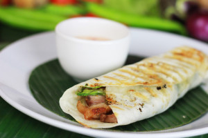 Liempo with Atchara in Tortilla Wrap